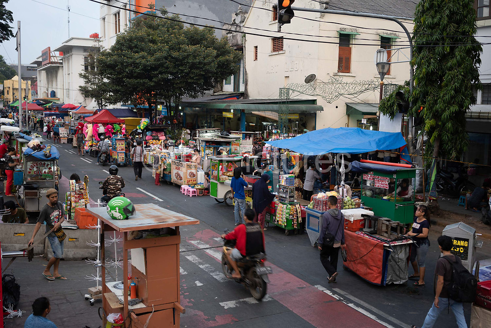 A street market on 8th June 2018, near Fatahillah Square, Jakarta, Java, Indonesia.