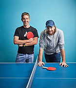 Mike Cannon-Brookes (baseball cap) and fellow founder of Atlassian, Scott Farquhar pictured together in their Sydney HQ