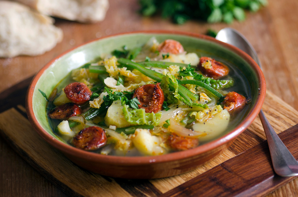 Rustic Mexican, bean and chorizo soup