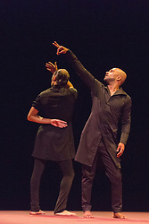 © Licensed to London News Pictures. 03/11/2014. London, England. L-R: Israel Galván and Akram Khan. UK Premiere of TOROBAKA with Akram Khan & Israel Galván;  performances from 3 to 8 November 2014 at Sadler's Wells Theatre. TOROBAKA takes its name from a Maori-inspired phonetic poem by Tristan Tzara. The bull (toro) and the cow (vaca) are sacred animals in the dancers' two traditions and TOROBAKA brings together kathak with flamenco to create a performance that is new, distinctive and that defies classification. Photo credit: Bettina Strenske/LNP