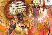 Traditional West Indian Caribbean dancers preforming during Carnival Day Parade on St. John, U.S. Virgin Islands