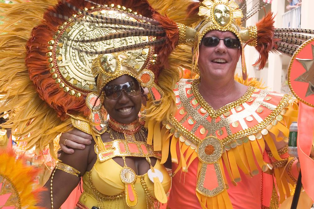 Traditional West Indian Caribbean dancers preforming during Carnival Day Parade on St. John, U.S. Virgin Islands