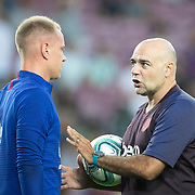 BARCELONA, SPAIN - August 25:  Goalkeeper Marc-André ter Stegen #1 of Barcelona with goalkeeping coach  José Ramón de la Fuente during team warm ups before the Barcelona V  Real Betis, La Liga regular season match at  Estadio Camp Nou on August 25th 2019 in Barcelona, Spain. (Photo by Tim Clayton/Corbis via Getty Images)