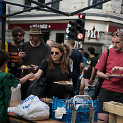 Food is served to thousands in Marble Arch. For up to ten days Extinction Rebellion activists occupied Waterloo Bridge, Parliament Square, Oxford Circus and Marble Arch disrupting traffic and 'normal life'. More than a thousand people were arrested before the police finally cleared the street and the International Rebellion was called to halt by the activists.  The environmental protest group Extinction Rebellion has called for civil disobedience and peaceful protest to force the British government to take drastic action on climate change. The group wants the government to tell the truth and admit that the impact of climate change is much more severe than they say and that action to mitigate catastrophic climate change is urgent.