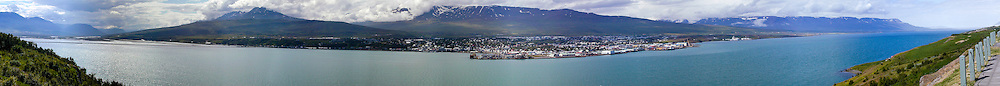 Iceland. Panorama. Akureyri, an important port and fisheries centre.