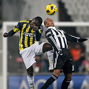 Besiktas's Mehmet AURELIO (R) and Fenerbahce's Mamadou NIANG (L) during their Turkish Superleague Derby match Besiktas between Fenerbahce at the Inonu Stadium at Dolmabahce in Istanbul Turkey on Sunday, 20 February 2011. Photo by TURKPIX