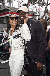 Gabrielle Union and her husband Dwyane Wade walk along the starting grid during the 76th Monaco Grand Prix. Monaco on May 27, 2018. Photo by Marco Piovanotto/ABACAPRESS.COM