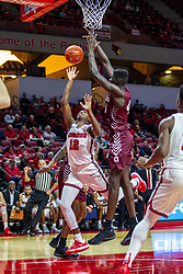 NORMAL, IL - November 10:  Antonio Reeves shoots while defended by Ruot Monyyong during a college basketball game between the ISU Redbirds and the Little Rock Trojans on November 10 2019 at Redbird Arena in Normal, IL. (Photo by Alan Look)