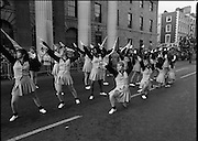 St Patrick's Day Parade.1982.17/03/1982.03.17.1982.Image of the Bishop Montgomery High School, California, Knightettes display their skills to the viewing stand