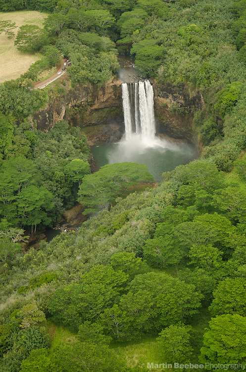 Aerial view of Wailua Falls, Kauai, Hawaii