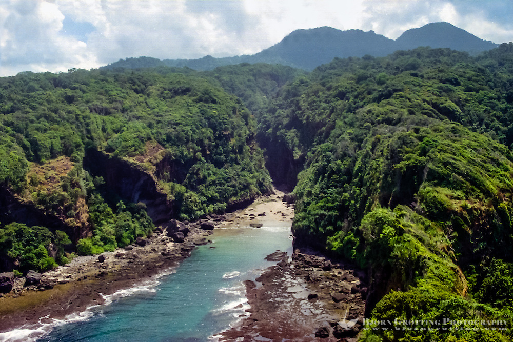 West Nusa Tenggara, Sumbawa. A narrow valley on the south coast of Sumbawa. This terrain is not easily accessible from land (from helicopter).