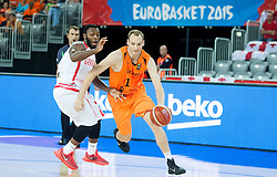 05-09-2015 CRO: FIBA Europe Eurobasket 2015 Georgie - Nederland, Zagreb<br /> Jacob Pullen of Georgia vs Kees Akerboom of Netherlands during basketball match between Georgia and Netherlands at Day 1 in Group C of FIBA Europe Eurobasket 2015, on September 5, 2015, in Arena Zagreb, Croatia. Photo by Vid Ponikvar / RHF