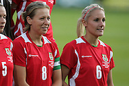 2011 FIFA Women's World Cup Qualifying match, Wales v Czech Republic at Stebonheath Park, Llanelli on Wed 23rd September 2009. pic by Andrew Orchard..Wales capt Jayne Ludlow (8) and Katie Daley (6)