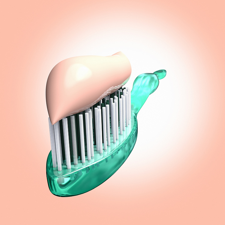 3D rendering of a close up of a toothbrush with toothpaste
