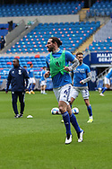 Cardiff City's Captain Sean Morrison (4) during the pre-match warm-up before the EFL Sky Bet Championship match between Cardiff City and Millwall at the Cardiff City Stadium, Cardiff, Wales on 30 January 2021.