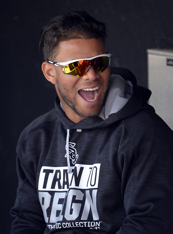 GLENDALE, ARIZONA - MARCH 4:  Yoan Moncada #10 of the Chicago White Sox looks on while laughing prior to the spring training game against the Los Angeles Angels of Anaheim on March 4, 2017 at Camelback Ranch in Glendale Arizona.  (Photo by Ron Vesely)   Subject:  Yoan Moncada