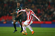 Xherdan Shaqiri of Stoke City in action. Premier league match, Stoke City v Manchester City at the Bet365 Stadium in Stoke on Trent, Staffs on Monday 12th March 2018.<br /> pic by Andrew Orchard, Andrew Orchard sports photography.