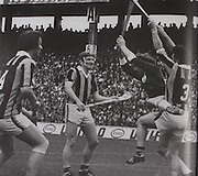 In the 1973 Munster final between Limerick and Tipperary, Eamon Cregan watches as Frankie Nolan (13) gets an early goal, with Ned Rea in attendance. The switch of Cregan to centre back for the final with Kilkenny was vital in Limerick winning their seventh title.