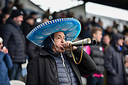 Queens Park Rangers Fan in the away end during the The FA Cup fourth round match between Portsmouth and Queens Park Rangers at Fratton Park, Portsmouth, England on 26 January 2019.