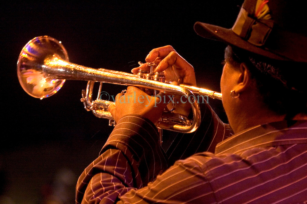 29 Oct, 2005.  New Orleans, Louisiana. Post Katrina.<br /> Let the good times roll. Back stage at Voodoo Fest tribute concert at Riverview Park. Kermit Ruffins returns to the stage and wows the crowd.<br /> Photo; ©Charlie Varley/varleypix.com