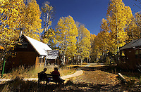 LaVerne Goldberg (CQ) and Margo Toth (CQ) of Carson City NV, sit among the aspen trees at Sorensen's Resort at 14255 Highway 88, near Highway 89, in the Hope Valley area of California, South of Lake Tahoe, Thursday October 16, 2003.