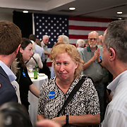 CHARLOTTE, NC - SEPTEMBER 10:  A  Dan McCready supporter gets emotional after greeting the candidate after his concession speech at an election night party at the Double Tree Hotel in South Charlotte seated in the Mecklenburg County portion of District 9 in Charlotte, NC on Tuesday September 10, 2019. (Photo by Logan Cyrus /The New York Times)