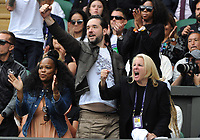 Tennis - 2019 Wimbledon Championships - Week Two, Tuesday (Day Eight)<br /> <br /> Women's Singles, Quarter-Final: Alison Riske (USA) vs. Serena Williams (USA)<br /> <br /> Serena' husband, Alexis Ohanian celebrates winning the first set, on Centre Court.<br /> <br /> COLORSPORT/ANDREW COWIE