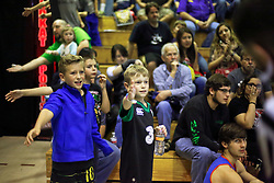 12 March 2016. Metairie, Louisiana.<br /> Wrestling action from Wildkat Sports and Entertainment's 'March into Mayhem' at the Meisler Middle School. Kids Ben and Brody take in the action.<br /> Photo©; Charlie Varley/varleypix.com