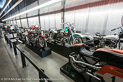 Bikes on display at the Harley-Davidson Museum during the Milwaukee Rally. Milwaukee, WI, USA. Saturday, September 3, 2016. Photography ©2016 Michael Lichter.