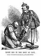 Unification of Italy: Giuseppe Garibaldi (1807-1882) helping Victor Emmanuel II (1820-78) put on the boot of Italy. John Tenniel cartoon from 'Punch', London, 17 November 1860. Wood engraving.