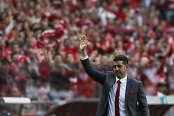 May 13, 2017 - Lisbon, Portugal - Benfica's coach Rui Vitoria salutes the fans during Premier League 2016/17 match between SL Benfica vs Vitoria SC, in Lisbon, on May 13, 2017. (Credit Image: © Carlos Palma/NurPhoto via ZUMA Press)