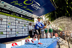Best in mountain classification Rafal Majka (POL) of Bora - Hansgrohe celebrates in blue jersey at trophy ceremony after the last Stage 4 of 24th Tour of Slovenia 2017 / Tour de Slovenie from Rogaska Slatina to Novo mesto (158,2 km) cycling race on June 18, 2017 in Slovenia. Photo by Vid Ponikvar / Sportida