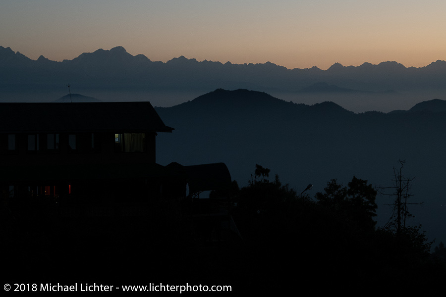 Spectacular view from our inn near the village of Daman where we spent our first night in the mountains on our Himalayan Heroes adventure after riding from Kathmandu to Daman, Nepal. The view took in Dhaulagiri to the west and Mount Everest in the east. Wednesday, November 7, 2018. Photography ©2018 Michael Lichter.