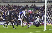 Photo. Glyn Thomas.<br /> Blackburn Rovers v Chelsea. FA Barclaycard Premiership. <br /> Ewood Park, Blackburn. 01/02/2004.<br /> Blackburn's Paul Gallagher (C) puts the ball past Carlo Cudicini (R) but was ruled offside, denying the home side a draw.