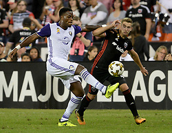 September 9, 2017 - Washington, DC, USA - 20170909 - Orlando City FC forward CYLE LARIN (9) vies with D.C. United midfielder RUSSELL CANOUSE (4) for possession of the ball in the first half at RFK Stadium in Washington. (Credit Image: © Chuck Myers via ZUMA Wire)