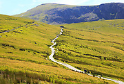 Upland landscape view towards summit, Mount Snowdon, Gwynedd, Snowdonia, north Wales, UK