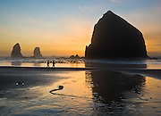 "The pounding Pacific Ocean has eroded a bluff to create Haystack Rock, a 235-foot (72-meter) tall monolith (or sea stack), on Cannon Beach, on the Oregon coast. Haystack Rock is part of the Tolovana Beach State Recreation Site and is managed by Oregon Parks and Recreation below the mean high water (MHW) level, and above the MHW level by the Oregon Islands National Wildlife Refuge of the United States Fish and Wildlife Service. Published in ""Light Travel: Photography on the Go"" book by Tom Dempsey 2009, 2010."