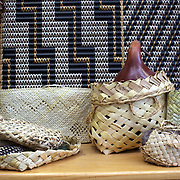 Weaved products made at Te Puia's Weaving School, Rotorua,  New Zealand. Te Puia is the premier Maori cultural centre in New Zealand - a place of gushing waters, steaming vents, boiling mud pools and spectacular geysers. Te Puia also hosts National Carving and Weaving Schools and  daily maori culture performances including dancing and singing. Rotorua, 9th December 2010 New Zealand.  Photo Tim Clayton
