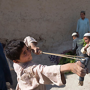 An Afghan boy prepares to shoot a stone with a slingshot as farmers move grass and animals down a path in the village of Chalghowr in Panjwa'i (Panjwaii) District, Kandahar Province, Afghanistan. <br /> The Canadian Press Images/Louie Palu<br /> CANADIAN SALES AND USE ONLY. NO INTERNATIONAL SALES OR USE.<br /> June 22, 2010
