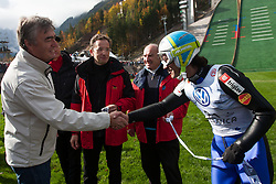 Milan Zver, candidate for Slovenian president elections and Primoz Peterka, first jumper on the small hill, during Slovenian summer national championship and opening of the reconstructed Bloudek's hill in Planica on October 14, 2012 in Planica, Ratece, Slovenia. (Photo by Grega Valancic / Sportida)