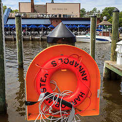 Annapolis, MD, USA - May 20, 2012: AN orange Life Preserver at the harbor in Annapolis MD