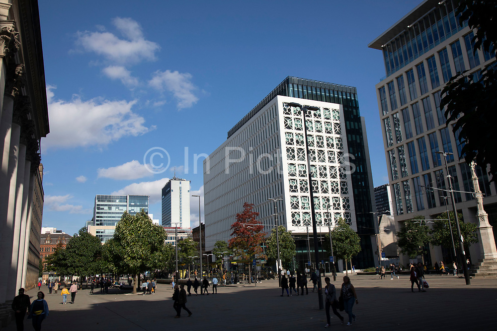 St Peters Square in Manchester, England, United Kingdom. Manchester is a major city in the northwest of England with an industrial heritage.