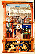 A street of shops including a tailor and a barber. This image is set in Paris but is typical of similar activities in cities in England and Europe. Note the cobbled street, half-timbered buildings, and the diamond-paned windows.  Early 16th century French manuscript.