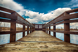 A view down the pier on one of the lakes at Busch Memorial