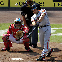 02 September 2007:  San Francisco Giants shortstop Omar Vizquel (13) pops out to the shortstop in the 6th inning against Washington Nationals pitcher Matt Chico  The Nationals defeated the Giants 2-1 at RFK Stadium in Washington, D.C.