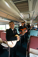 Mariachi band performs aboard the Tequila Express train en route from Guadalajara to the town of Tequila, Mexico