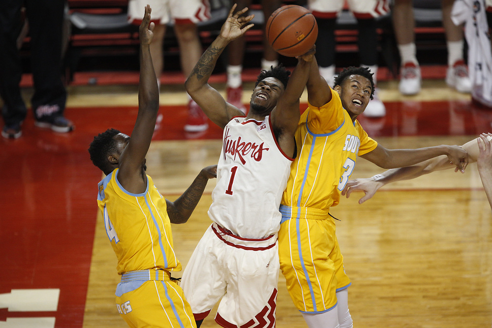 Nebraska Cornhuskers guard Anton Gill #1 is fouled during Nebraska's 81-76 win over Southern at Pinnacle Bank Arena in Lincoln, Neb. on Dec. 20, 2016. Photo by Aaron Babcock, Hail Varsity