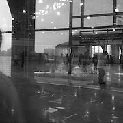 With space at a premium in the vast metropolis of Manhattan, New York City, locals find ways and means for pastime exercise and recreational activities as they go about their daily lives..Reflections at the Ice rink at Chelsea Piers on May 05, 2004. Photo Tim Clayton.