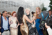 KAREN ELSON; L'WREN SCOTT; KRISTEN MCMENAMY, The Serpentine Summer Party 2013 hosted by Julia Peyton-Jones and L'Wren Scott.  Pavion designed by Japanese architect Sou Fujimoto. Serpentine Gallery. 26 June 2013. ,