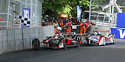 Stephane Sarrazin took the flag but Sam Bird took the win after \form30 was handed a drive through penalty during the FIA Formula E Visa London ePrix  at Battersea Park, London, United Kingdom on 28 June 2015. Photo by Matthew Redman.